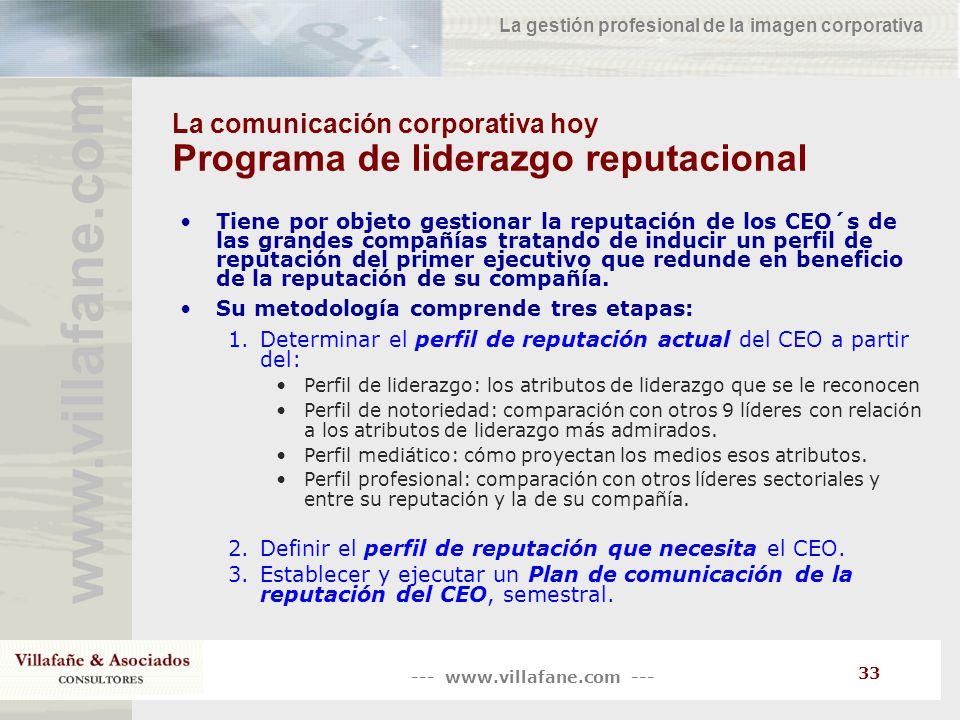 La comunicación corporativa hoy Programa de liderazgo reputacional