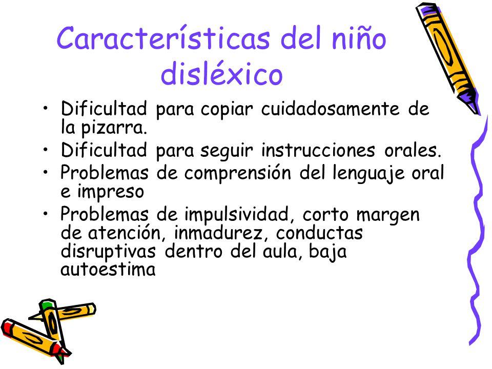 Características del niño disléxico