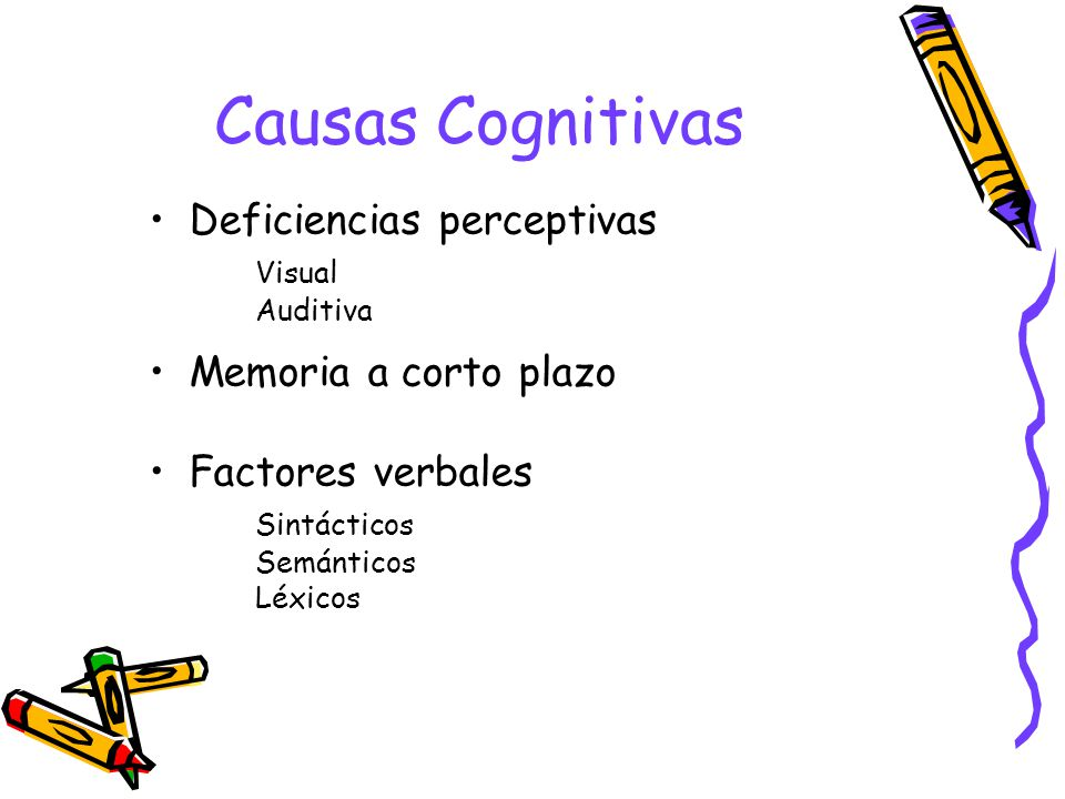 Causas Cognitivas Deficiencias perceptivas Visual