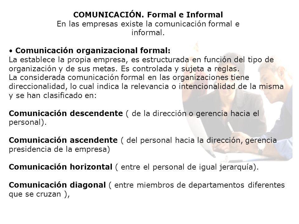COMUNICACIÓN. Formal e Informal