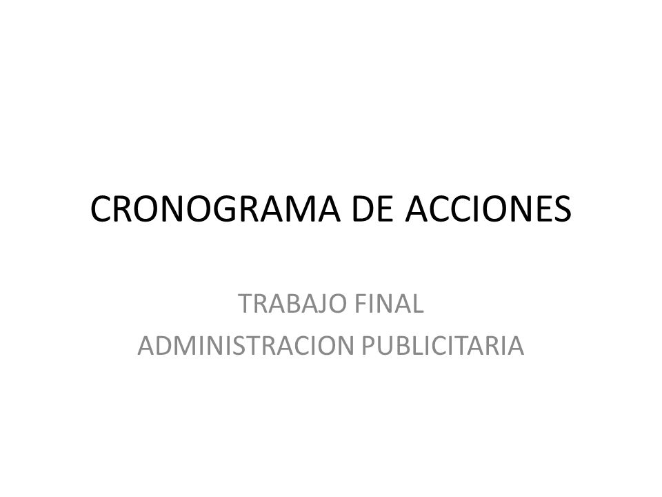 CRONOGRAMA DE ACCIONES
