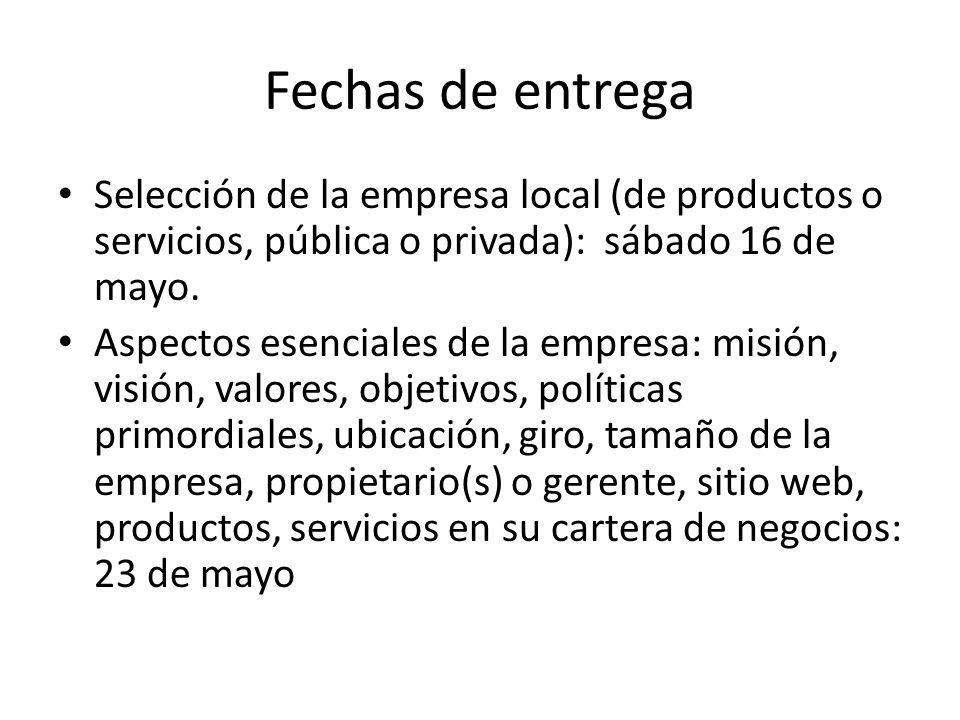 Fechas de entrega Selección de la empresa local (de productos o servicios, pública o privada): sábado 16 de mayo.