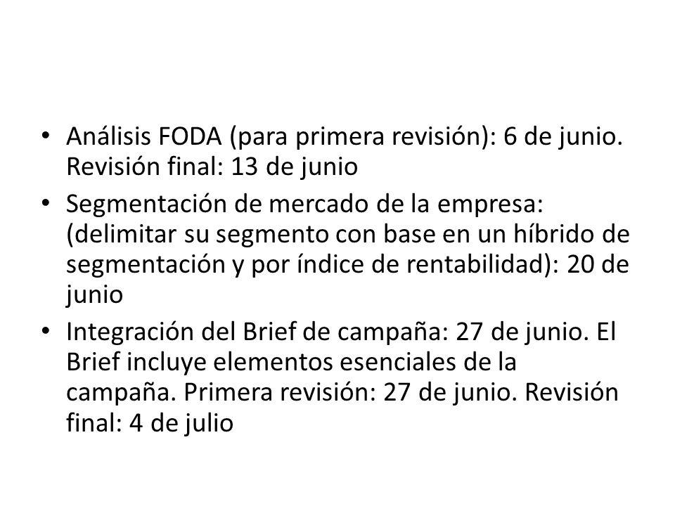 Análisis FODA (para primera revisión): 6 de junio