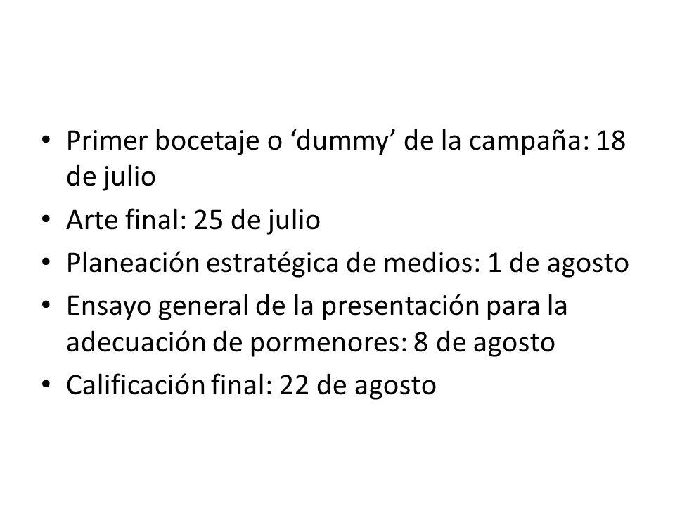 Primer bocetaje o 'dummy' de la campaña: 18 de julio