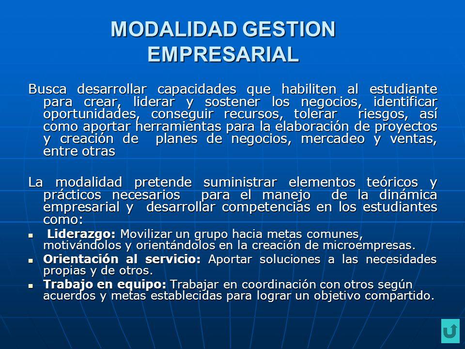 MODALIDAD GESTION EMPRESARIAL