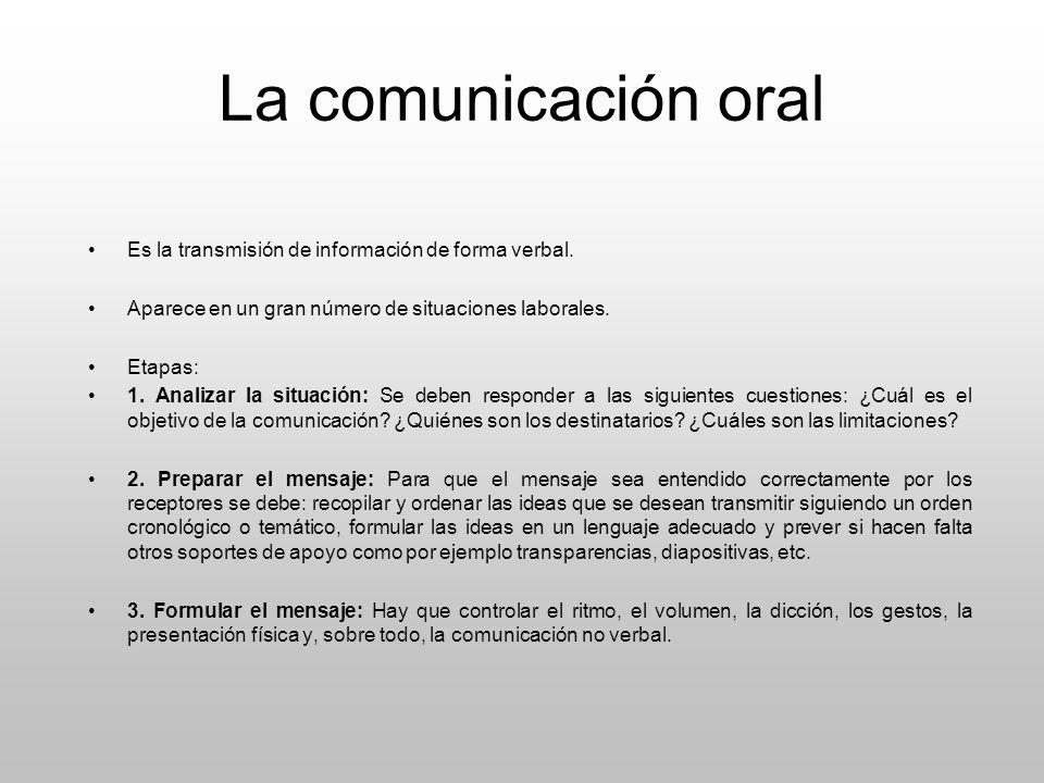 La comunicación oral Es la transmisión de información de forma verbal.