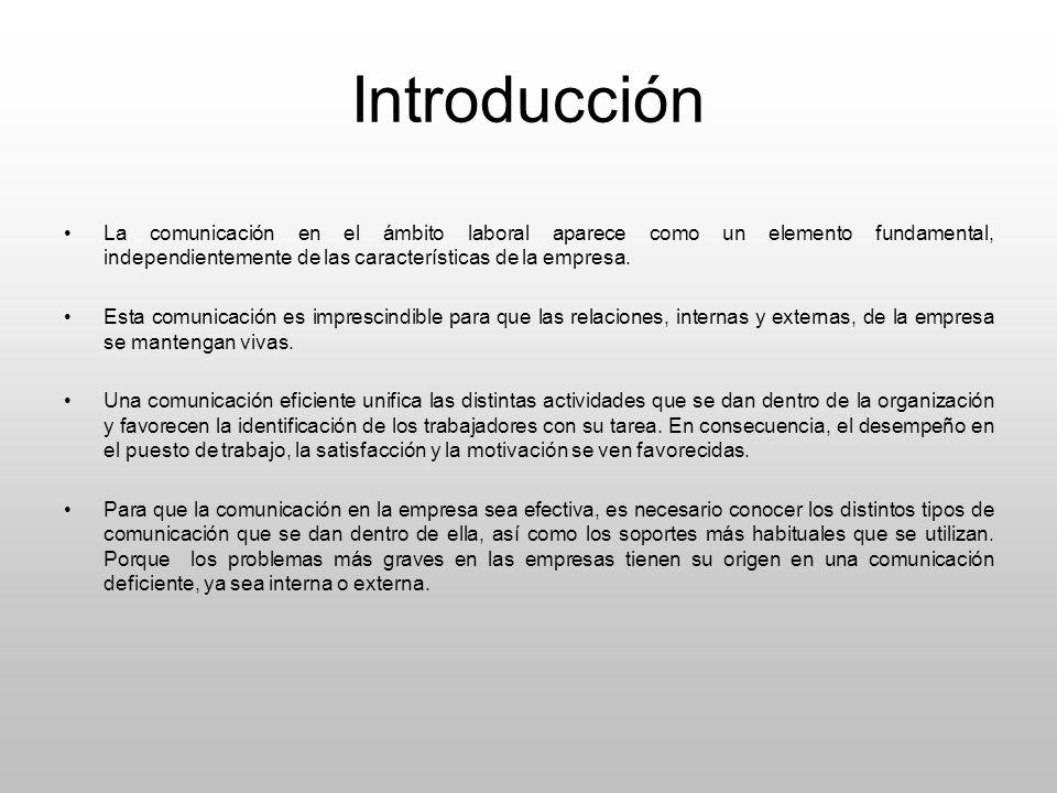 Introducción La comunicación en el ámbito laboral aparece como un elemento fundamental, independientemente de las características de la empresa.