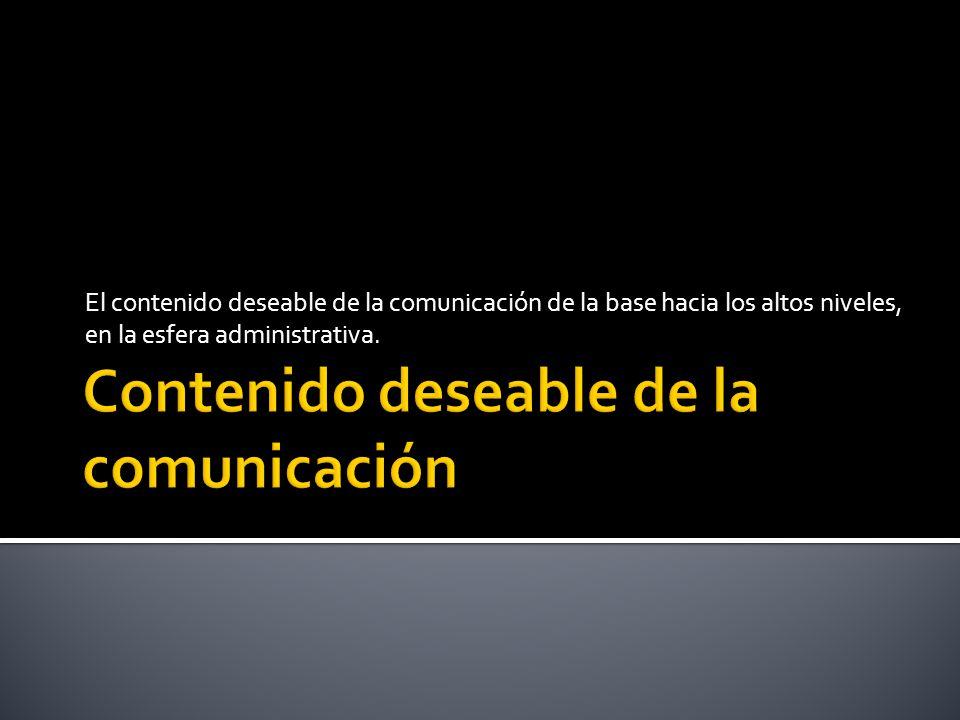 Contenido deseable de la comunicación
