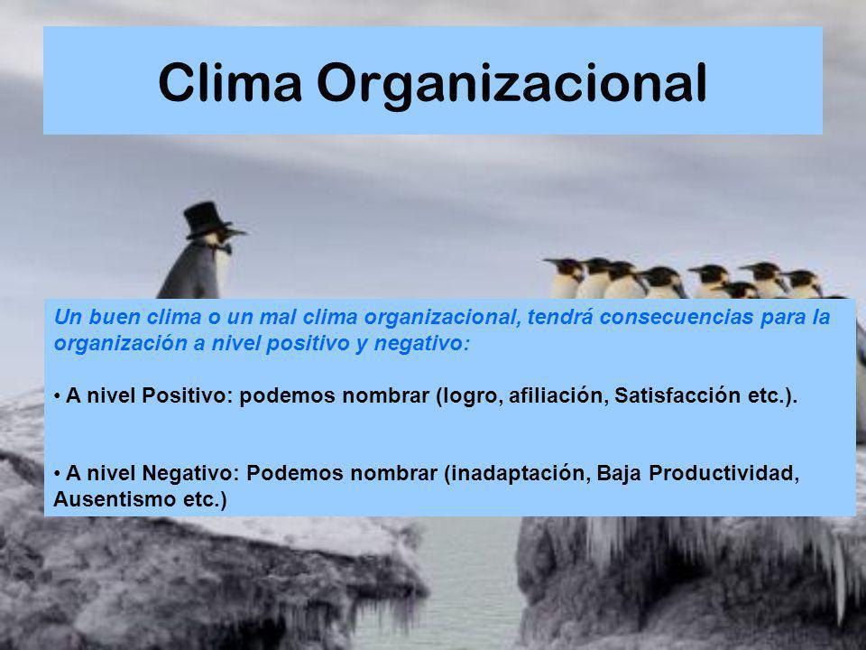 Clima Organizacional Un buen clima o un mal clima organizacional, tendrá consecuencias para la organización a nivel positivo y negativo: