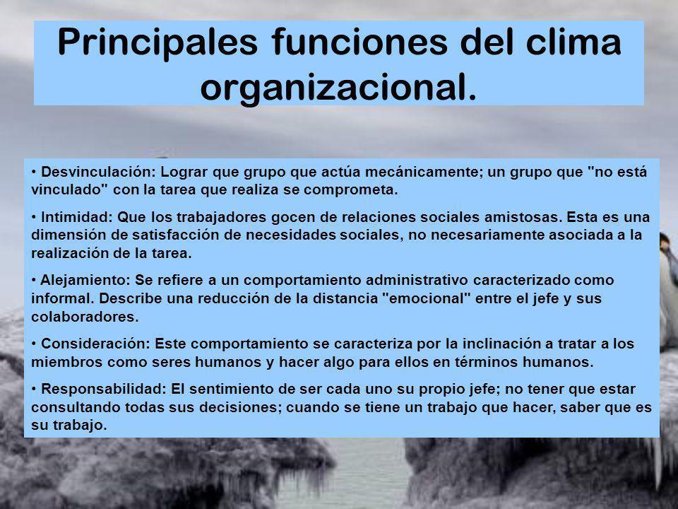 Principales funciones del clima organizacional.