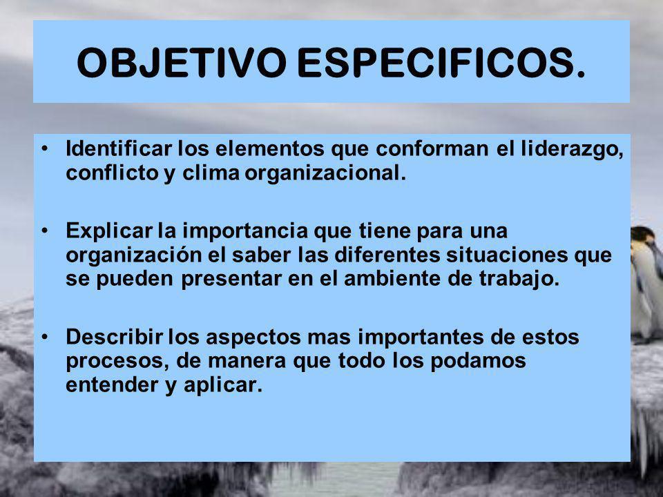 OBJETIVO ESPECIFICOS. Identificar los elementos que conforman el liderazgo, conflicto y clima organizacional.