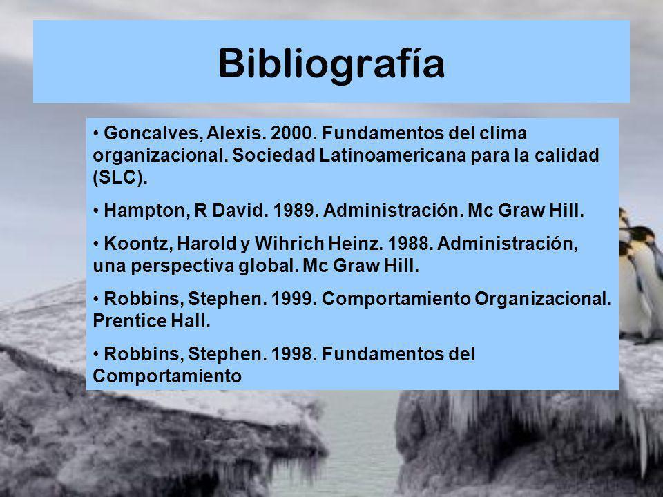 Bibliografía Goncalves, Alexis. 2000. Fundamentos del clima organizacional. Sociedad Latinoamericana para la calidad (SLC).