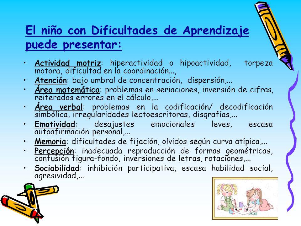El niño con Dificultades de Aprendizaje puede presentar: