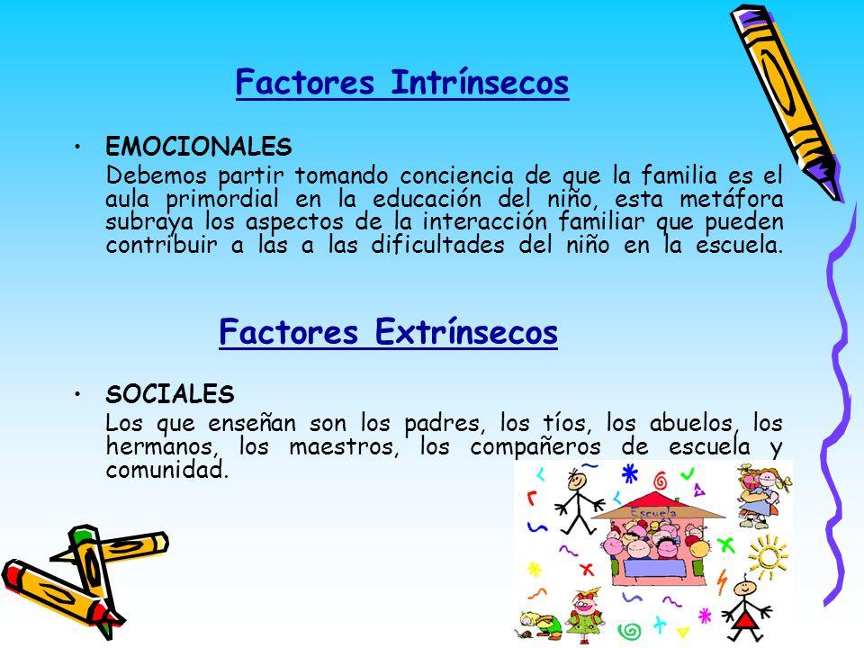 Factores Intrínsecos Factores Extrínsecos EMOCIONALES