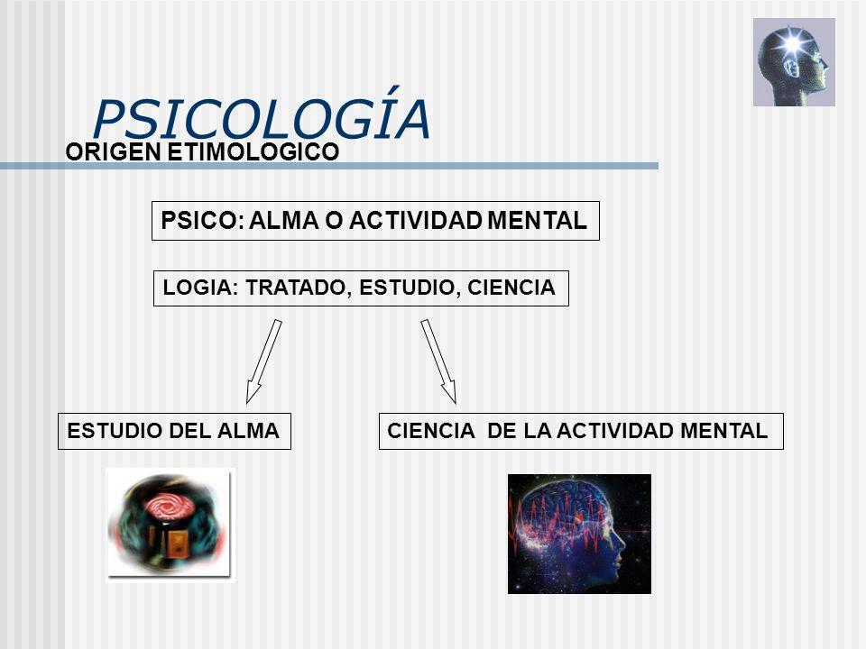 PSICOLOGÍA ORIGEN ETIMOLOGICO PSICO: ALMA O ACTIVIDAD MENTAL