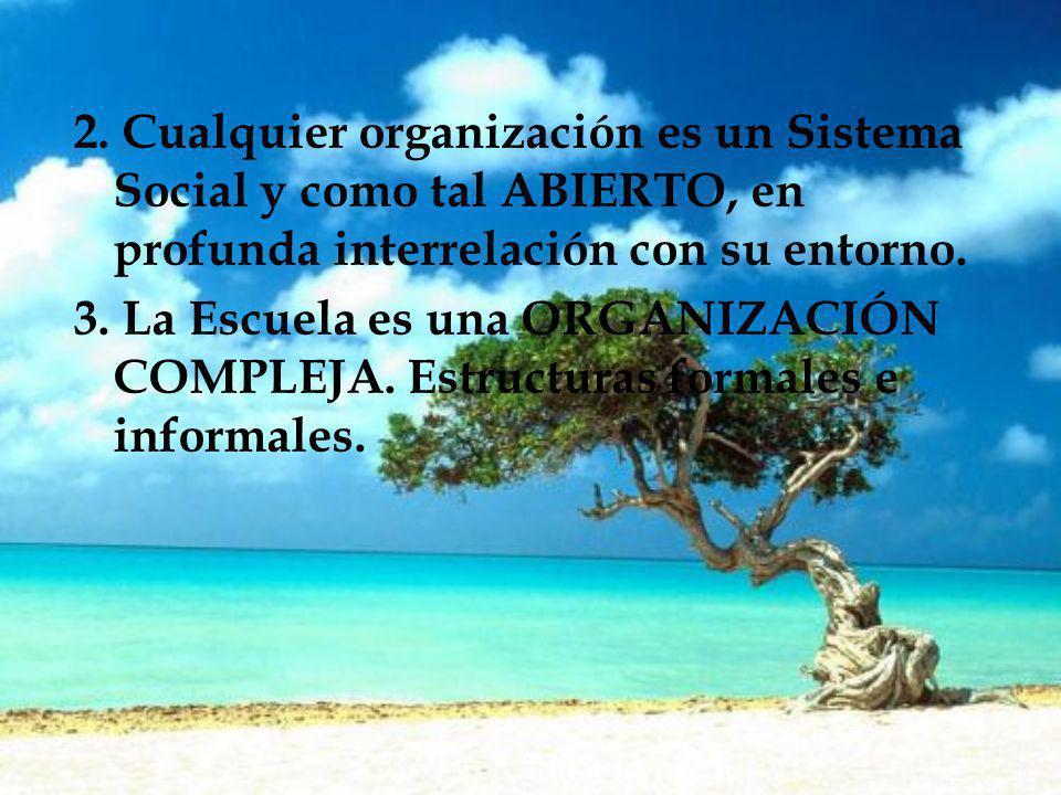 2. Cualquier organización es un Sistema Social y como tal ABIERTO, en profunda interrelación con su entorno.