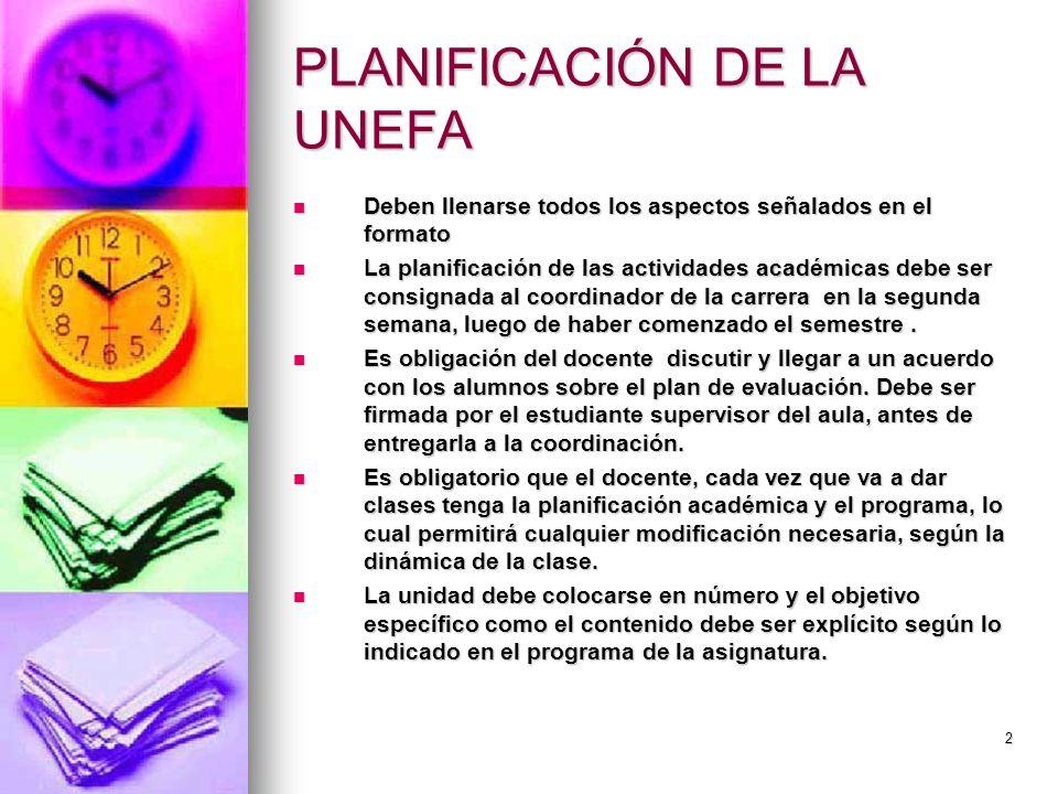 PLANIFICACIÓN DE LA UNEFA