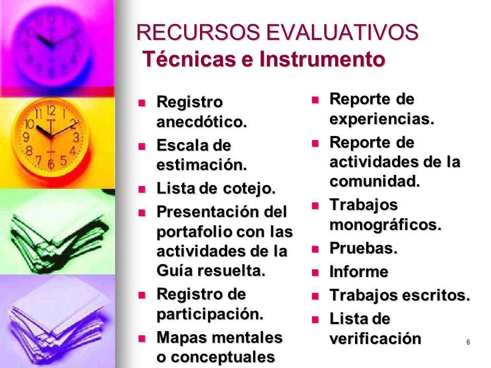 RECURSOS EVALUATIVOS Técnicas e Instrumento