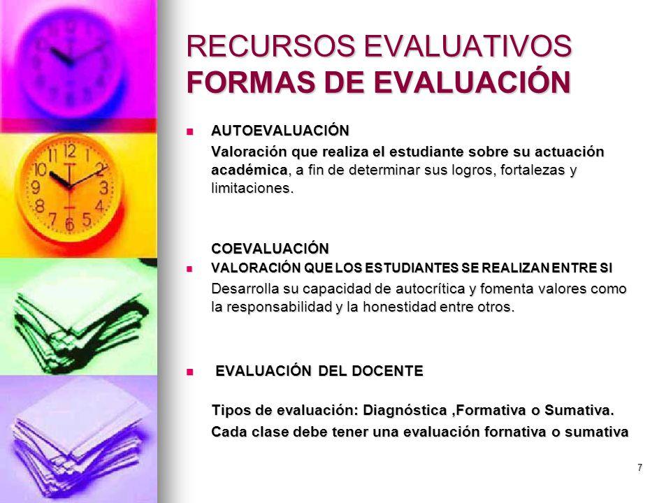 RECURSOS EVALUATIVOS FORMAS DE EVALUACIÓN