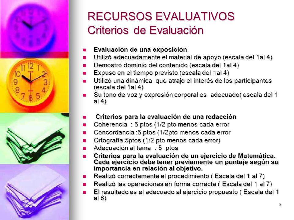 RECURSOS EVALUATIVOS Criterios de Evaluación