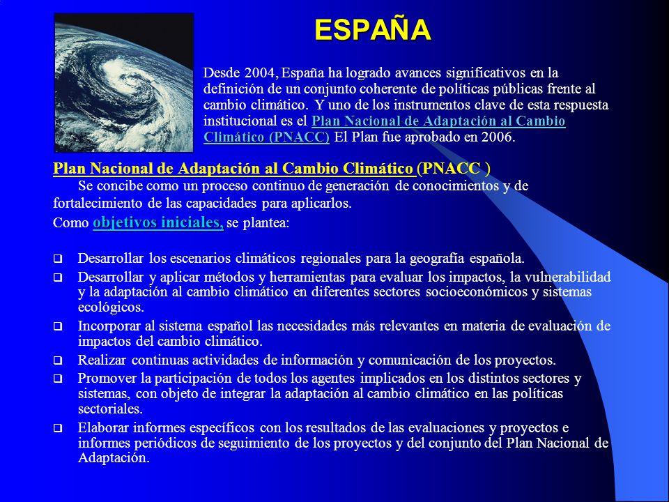 ESPAÑA Plan Nacional de Adaptación al Cambio Climático (PNACC )
