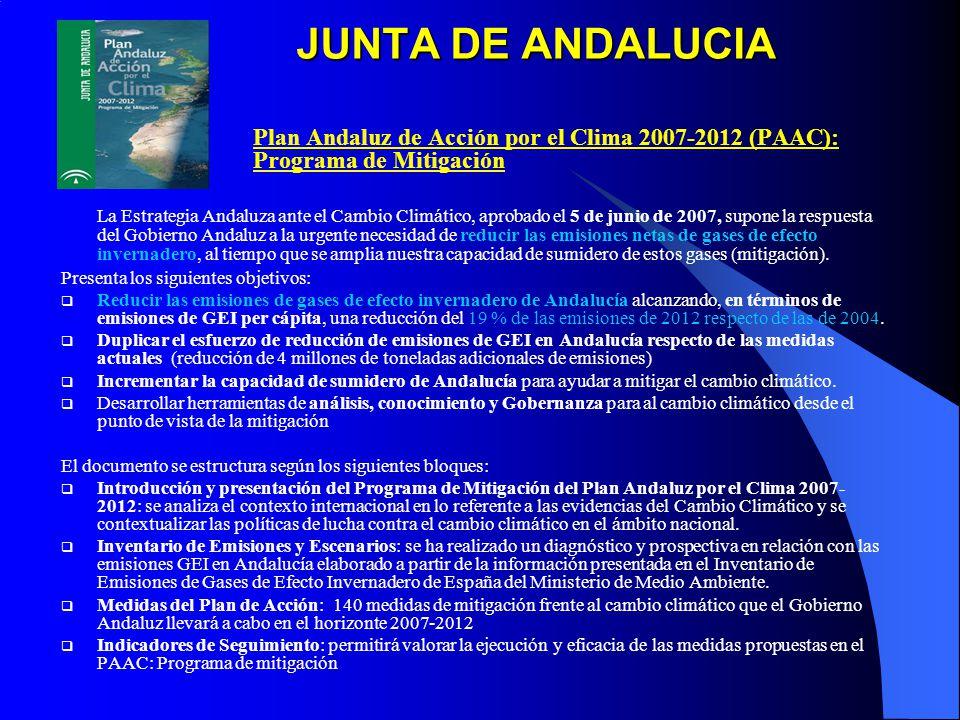 JUNTA DE ANDALUCIA Plan Andaluz de Acción por el Clima 2007-2012 (PAAC): Programa de Mitigación.