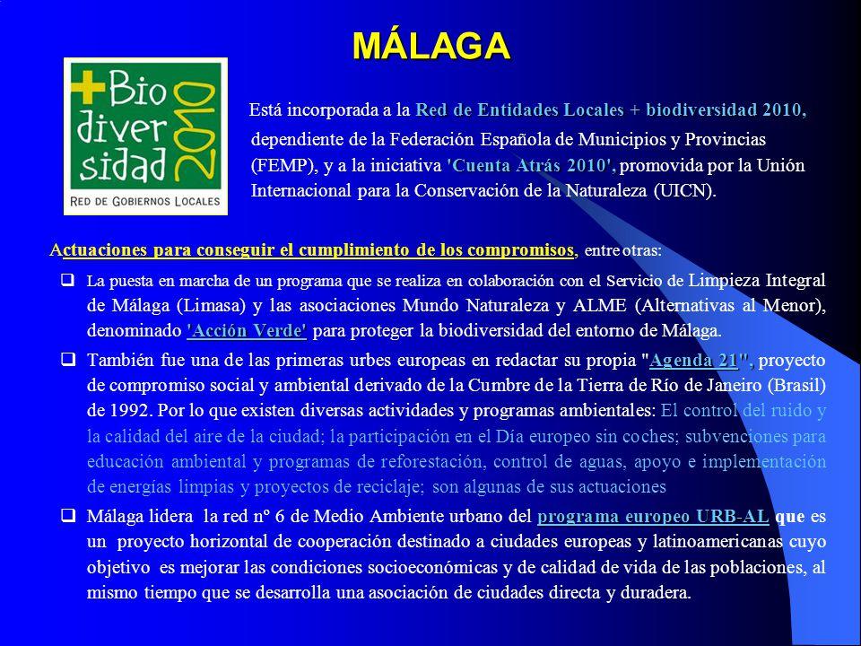 MÁLAGA Está incorporada a la Red de Entidades Locales + biodiversidad 2010,