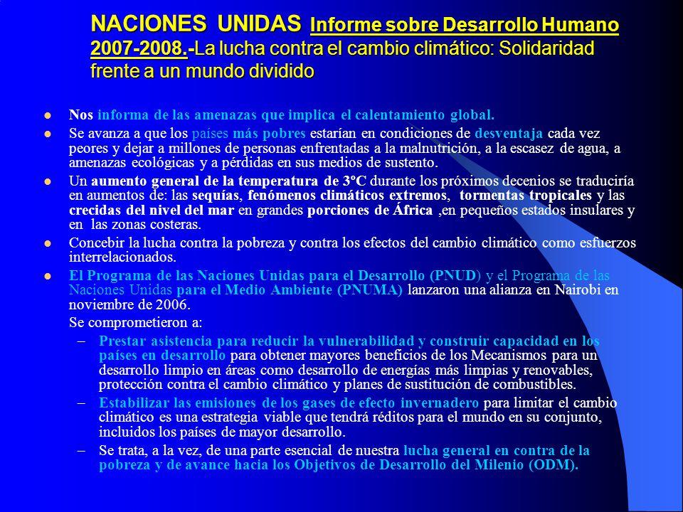 NACIONES UNIDAS Informe sobre Desarrollo Humano 2007-2008