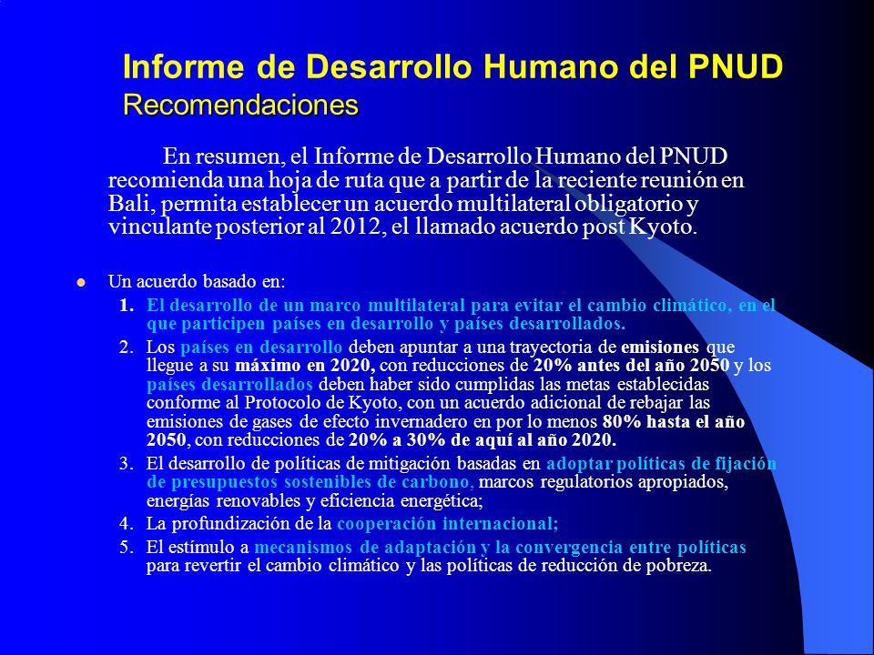 Informe de Desarrollo Humano del PNUD Recomendaciones