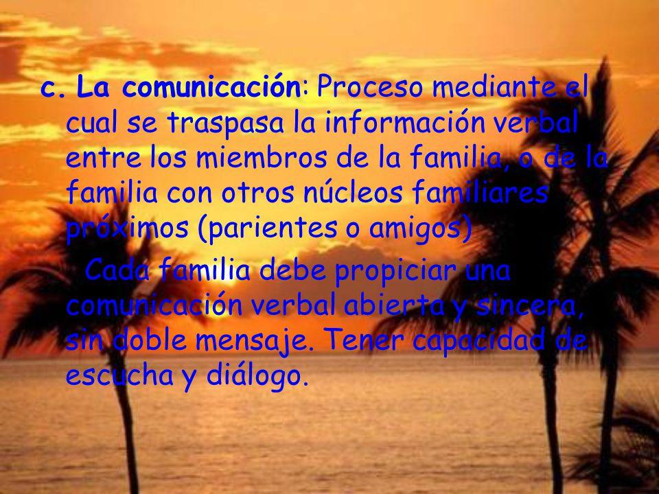 c. La comunicación: Proceso mediante el cual se traspasa la información verbal entre los miembros de la familia, o de la familia con otros núcleos familiares próximos (parientes o amigos)