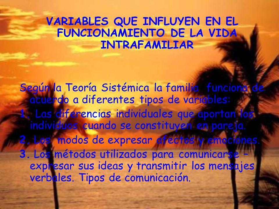VARIABLES QUE INFLUYEN EN EL FUNCIONAMIENTO DE LA VIDA INTRAFAMILIAR