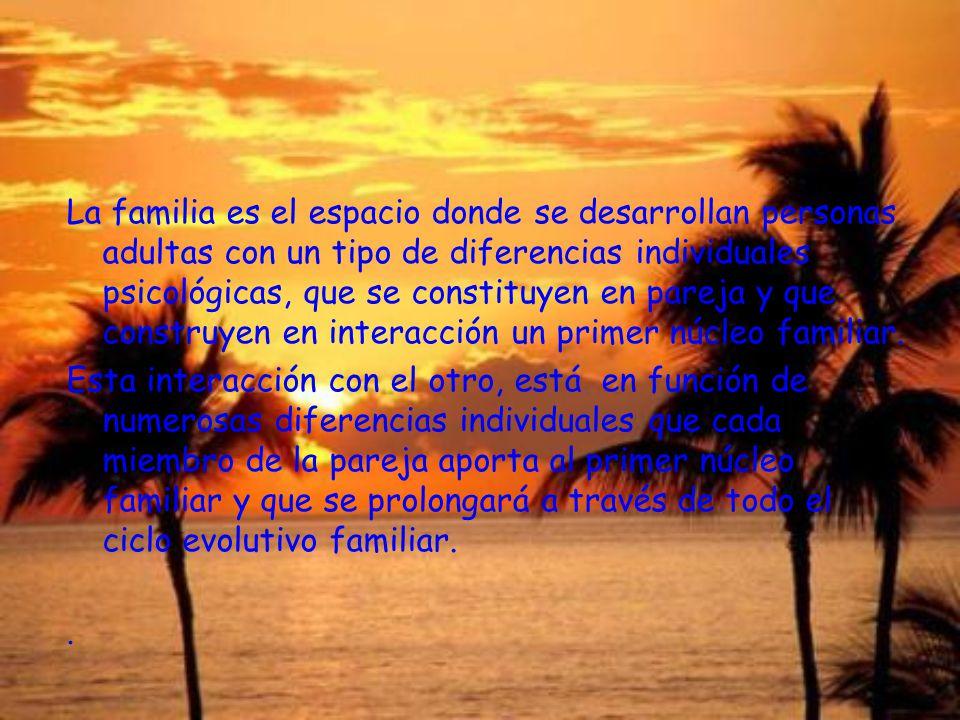 La familia es el espacio donde se desarrollan personas adultas con un tipo de diferencias individuales psicológicas, que se constituyen en pareja y que construyen en interacción un primer núcleo familiar.