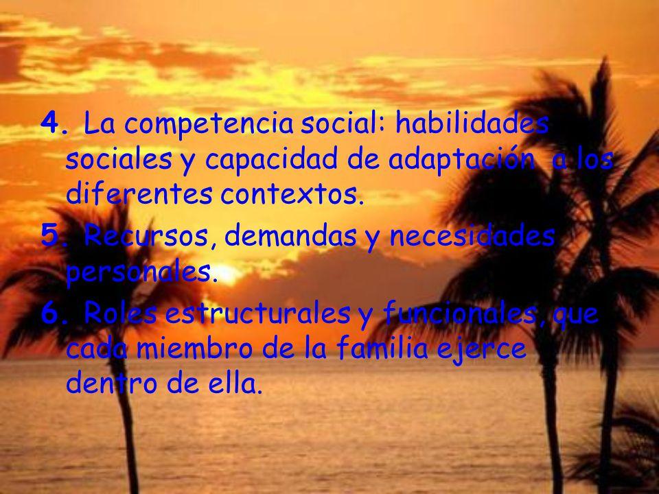4. La competencia social: habilidades sociales y capacidad de adaptación a los diferentes contextos.