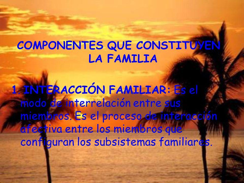 COMPONENTES QUE CONSTITUYEN LA FAMILIA