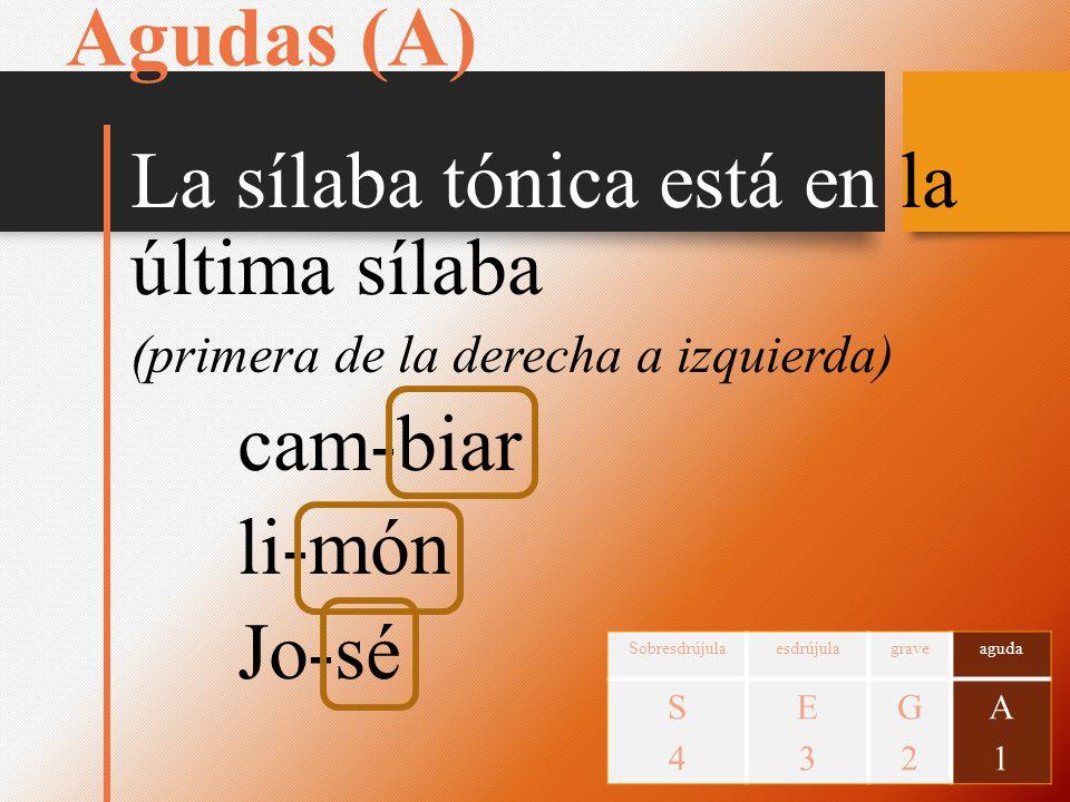 Agudas (A) La sílaba tónica está en la última sílaba cam-biar li-món