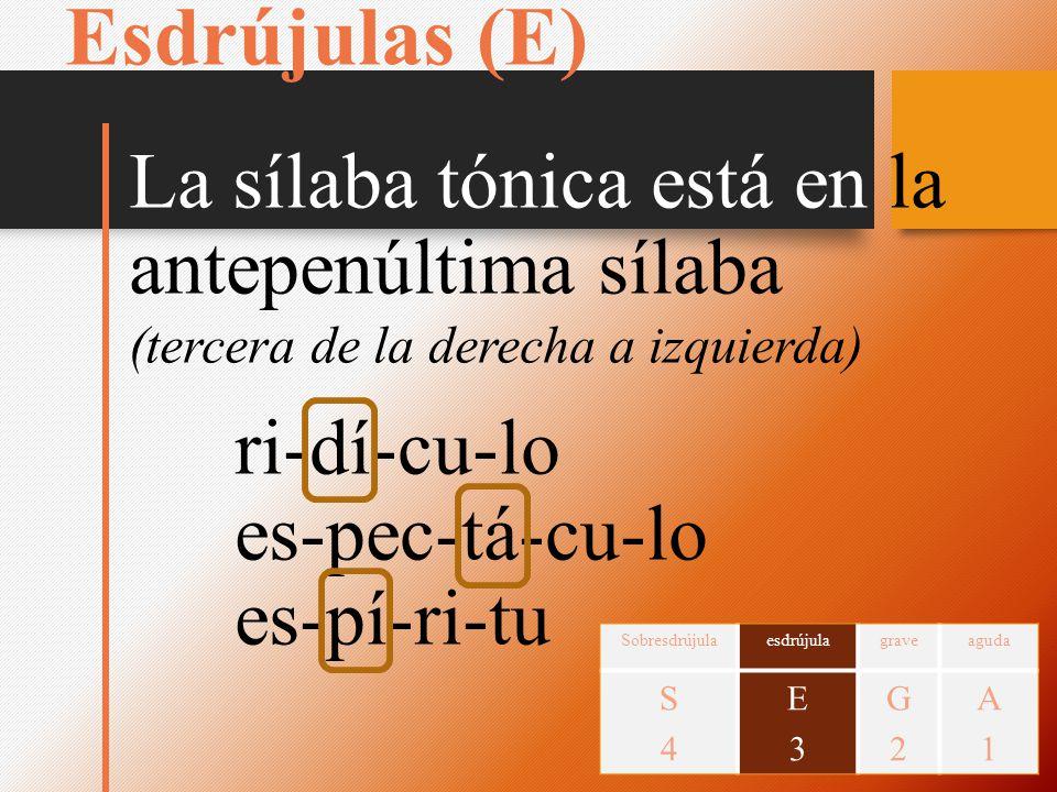 Esdrújulas (E) La sílaba tónica está en la antepenúltima sílaba