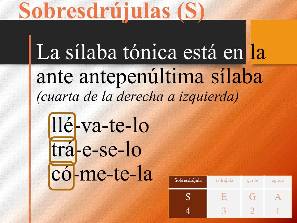 Sobresdrújulas (S) La sílaba tónica está en la ante antepenúltima sílaba. (cuarta de la derecha a izquierda)