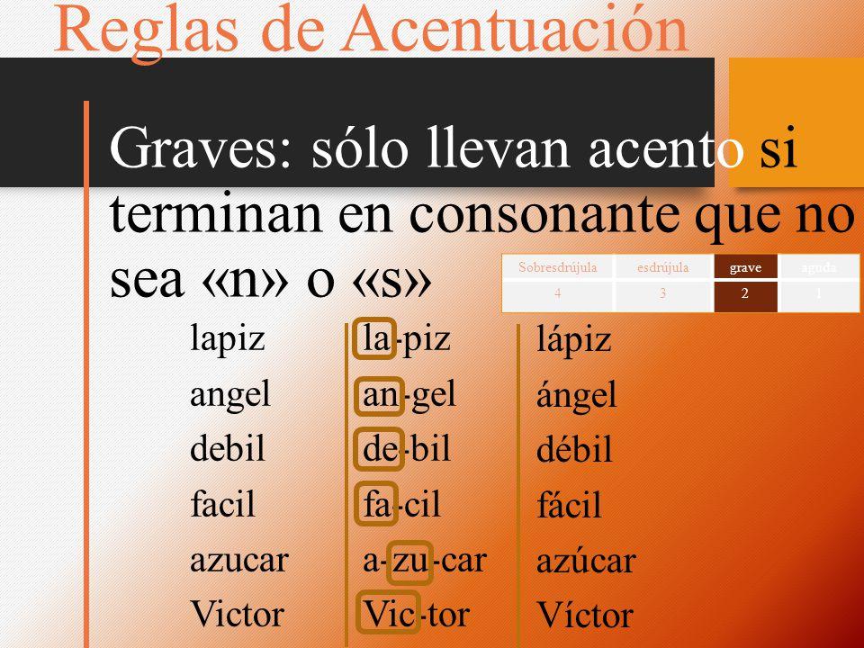Reglas de Acentuación Graves: sólo llevan acento si terminan en consonante que no sea «n» o «s» Sobresdrújula.