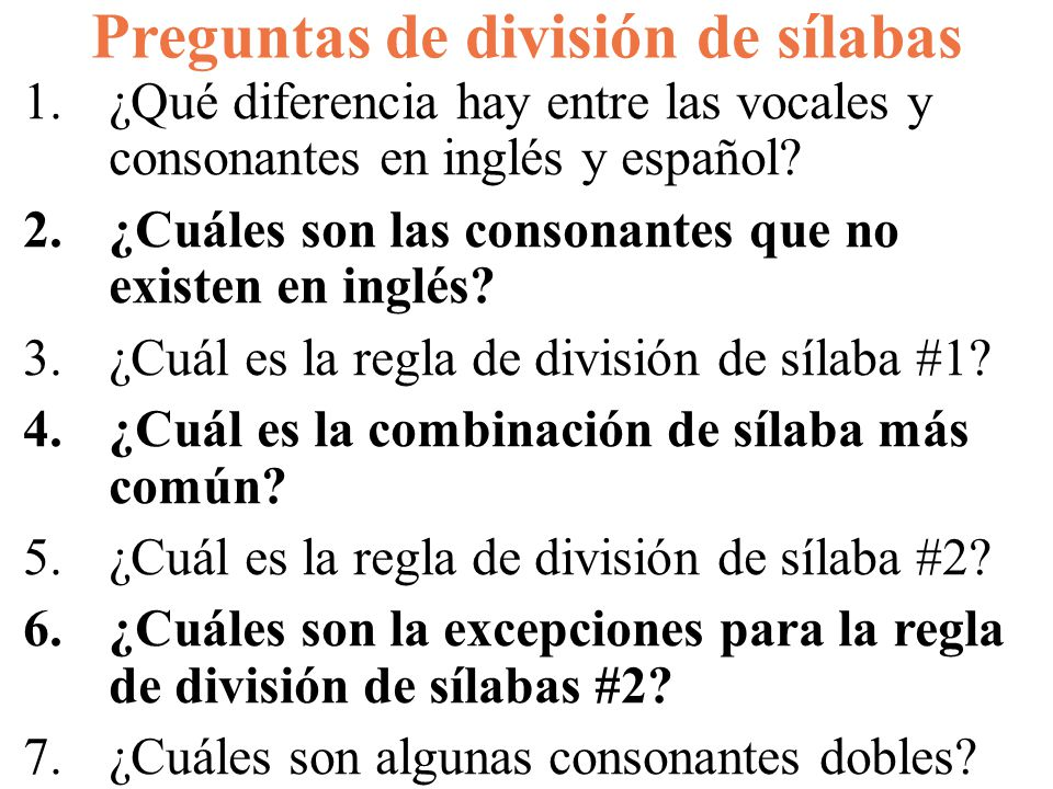 Preguntas de división de sílabas