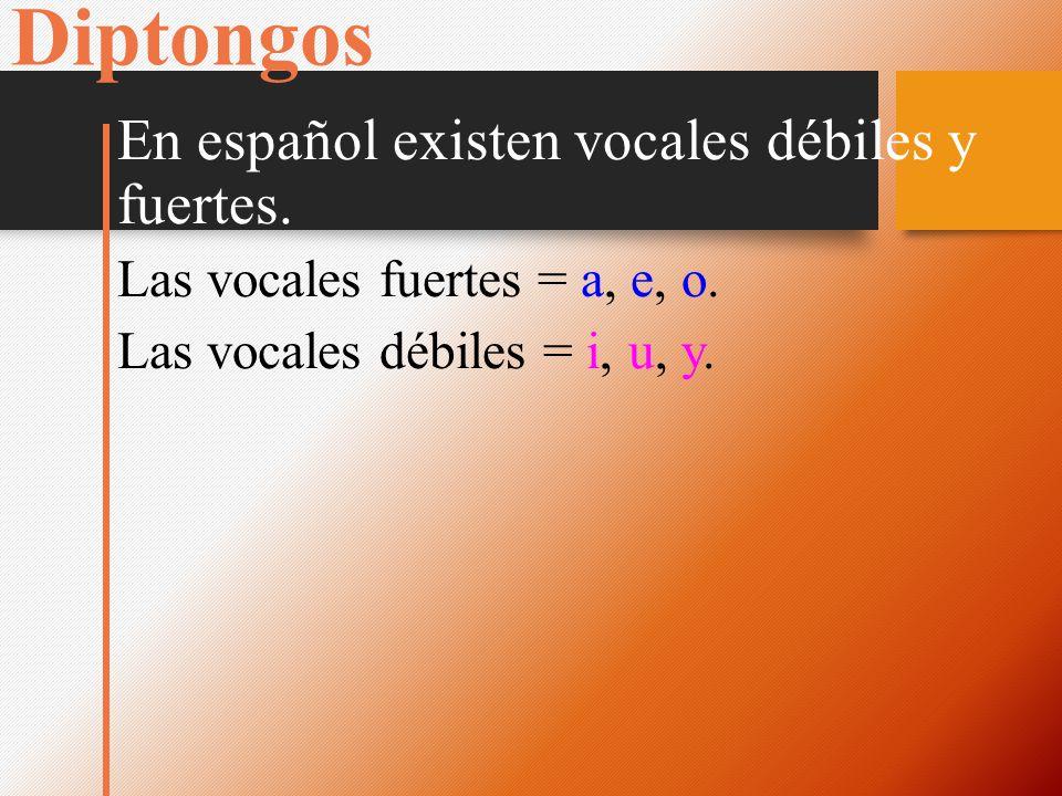 Diptongos En español existen vocales débiles y fuertes.