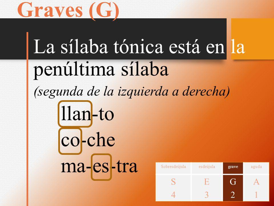 Graves (G) La sílaba tónica está en la penúltima sílaba llan-to co-che