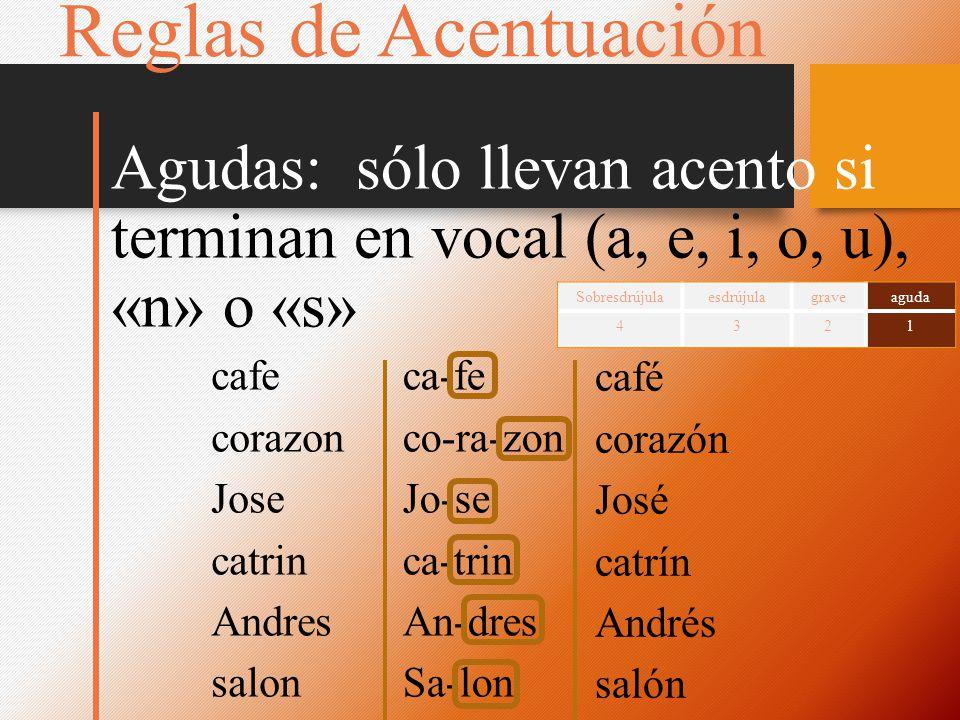 Reglas de Acentuación Agudas: sólo llevan acento si terminan en vocal (a, e, i, o, u), «n» o «s»