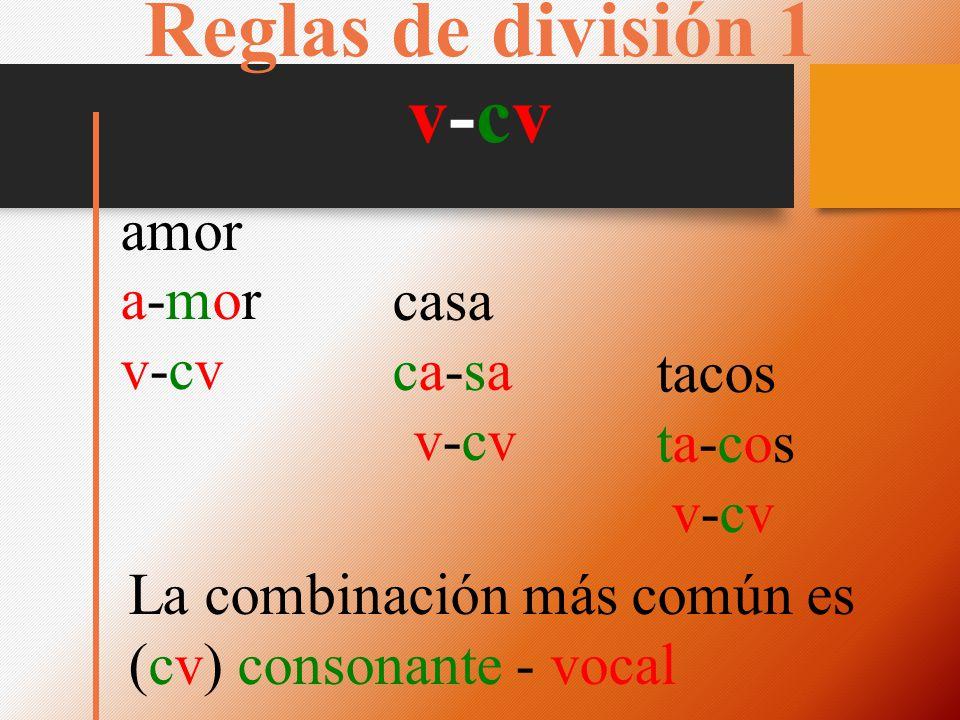 Reglas de división 1 v-cv