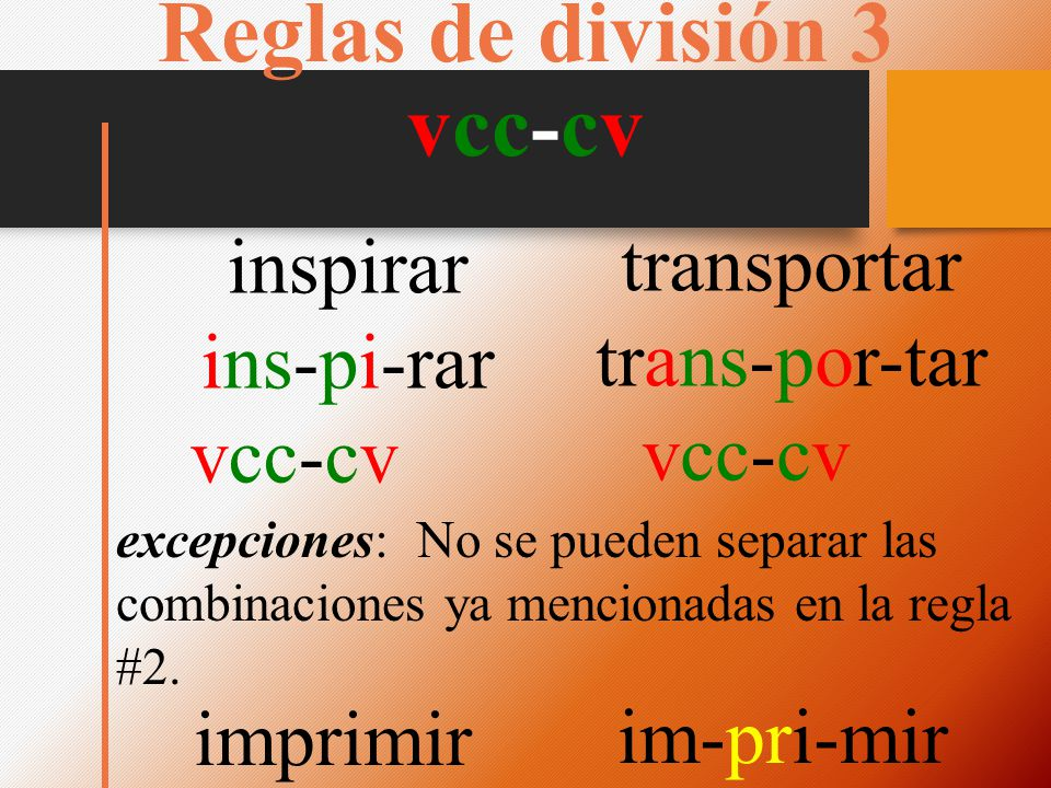 Reglas de división 3 vcc-cv