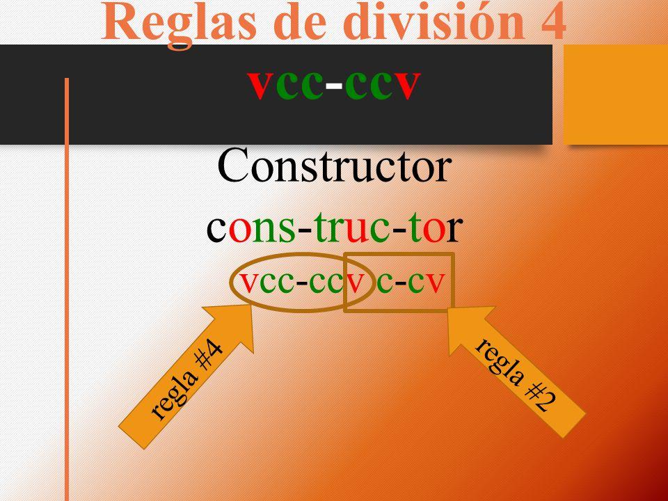 Reglas de división 4 vcc-ccv