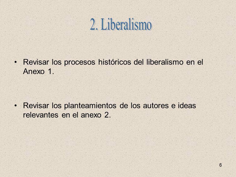 2. Liberalismo Revisar los procesos históricos del liberalismo en el Anexo 1.