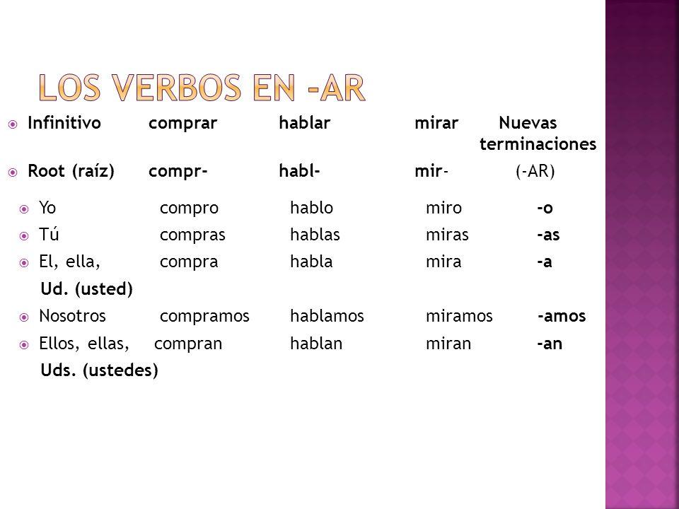 Los verbos en -ar Infinitivo comprar hablar mirar Nuevas terminaciones