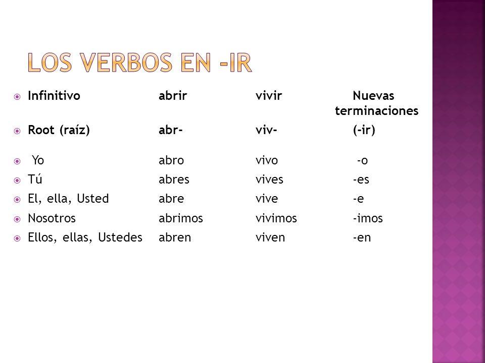 Los verbos en -ir Infinitivo abrir vivir Nuevas terminaciones