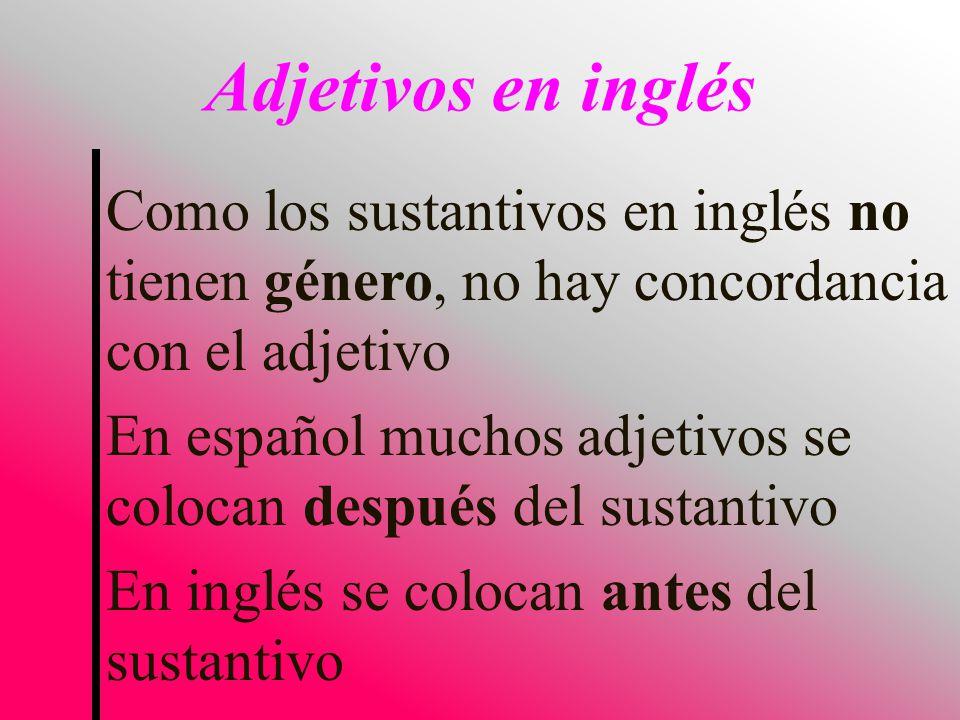 Adjetivos en inglés Como los sustantivos en inglés no tienen género, no hay concordancia con el adjetivo.
