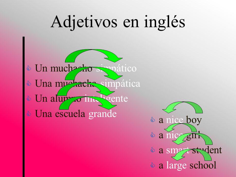 Adjetivos en inglés Un muchacho simpático Una muchacha simpática